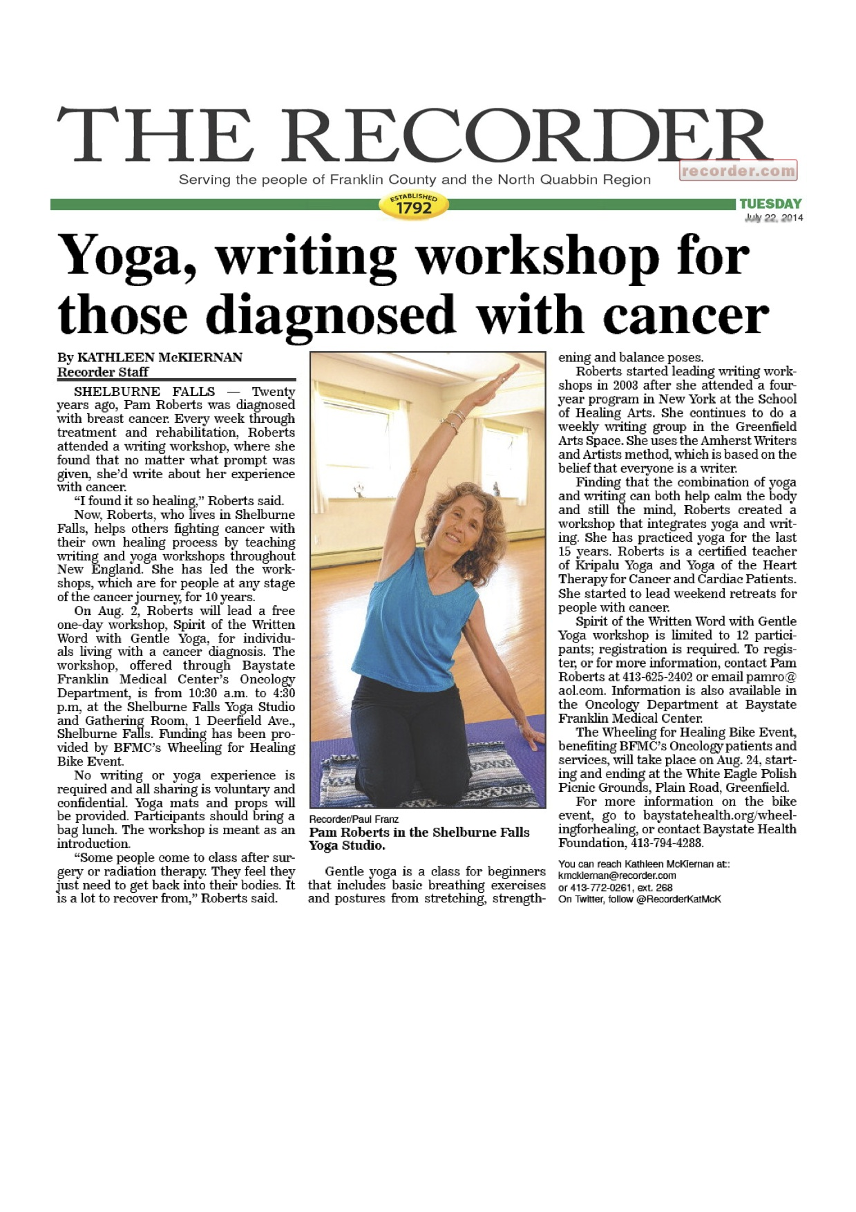 RECORDER 07/22/ 14 Gentle Yoga  and Writing Workshop for people with cancer in Shelburne Falls MA